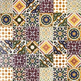 Cerames, baldosas de cerámica marroquí Maraj - 50 baldosas decorativas tunecinas orientales de 10 x 10 cm para el baño, la cocina, debajo de las escaleras. Azulejos decorativos de colores.