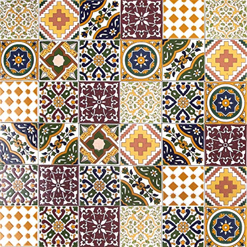 Cerames, piastrelle ceramiche tunisine Maraj - 50 piastrelle decorative tunisine orientali 10 x 10 cm per il bagno, la cucina, sotto le scale. Piastrelle decorative colorate.
