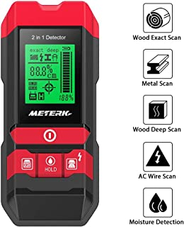 Stud Finder Sensor Meterk Wall Scanner - 5 in 1 Electronic Center Finder Multi-Functional Wall Finder Detector with LED/Sound Warning for Wood Stud/Metal/Live AC Wire/Moisture Detection
