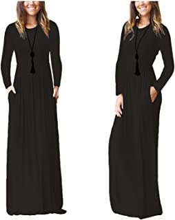 WLSM Women's Full Sleeve Loose Plain Maxi Casual Long Dresses with Pockets