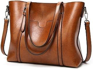 Women Retro Tote Bags Top Handle Satchel Handbags Faux Leather Shoulder Zipper Vintage Purse