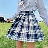 CIDCIJN Mini Jupe Crayon Femme,Harajuku Woman Skirts High Waist Plaid Pleated Skirt School Girls Kawaii Cosplay Jupes pour Femmes Style Japonais, Gris,XS
