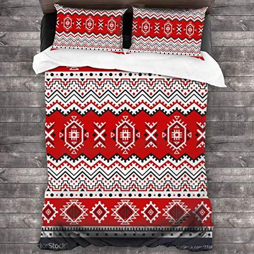 Qing_II Juego de ropa de cama de 3 piezas, diseño étnico sin costuras, con 5 fundas de edredón de color negro, blanco y rojo, de microfibra suave, 1 funda de edredón de 86 x 70 pulgadas y 2 fundas de almohada de 20 x 30 pulgadas