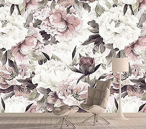 Personalisierte Tapeten Für Wohnzimmer 3D-Tapeten Hauptdekorationen 3D-Papiertapeten Wallpaper Rolls Floral Pink fototapete 3d Tapete effekt Vlies wandbild Schlafzimmer-300cm×210cm
