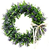 Palmhill 16 inch Wreath Front Door, Artificial Plastic Green Leaf Eucalyptus Wreath with Bow Spring Farmhouse Hoop Wreath Greenery Garland for Home Kitchen Office Wall Window Wedding Décor All-Season