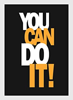 BIRD'S MIND You Can Do It Bar Quotes Wall Hanging Synthetic Wood Photo Frame Poster for Living Room Boys Bedroom Home Déco...