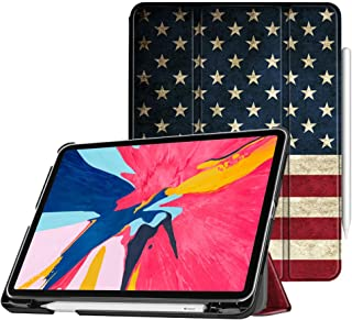"Fintie Case with Built-in Pencil Holder for iPad Pro 11"" 2018 [Supports 2nd Gen Pencil Charging Mode] - SlimShell Stand Cover with Auto Wake/Sleep for iPad Pro 11 Inch Tablet, US Flag"