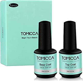 Base y Top coat Brillante Esmaltes Semi-permanentes para Uñas No Wipe Capa Superior 2 x 15 ml, Secado Rápido Remojo UV/LED Gel Nail Polish