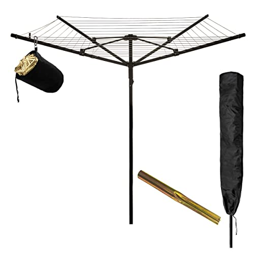 757973210d53 Fineway Heavy Duty Design 4 Arm Rotary Airer Garden Washing Line Clothes  Dryer Comes With Cover