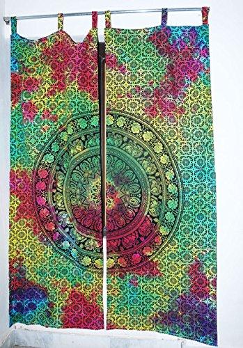 Future faite à la main 5 Paire de rideaux Chambre à coucher ou salon 2 panneaux Rideaux Home Decor Rideau de vitrage Unique Coton indien Drapes Cantonnière Mandala fenêtre Porte Coque Rideau à suspendre Drape, Coton, Pack 2, Size 54\