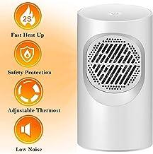 YAUUYA Calefactor Portátil Eléctrico PTC Elemento de Cerámica 2 in1 Ventilador de Aire Caliente 400W con Viento Calor y Natural Configuraciones de Temperatura para Hogar y Oficina