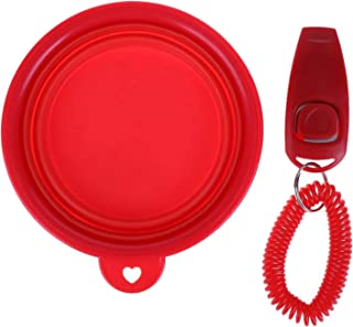 LinJiaJia_shop Folding Silicone Dog Bowl Portable Travel Dog Feeder Basin Pan with Click