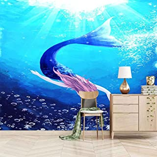 VITICP Adults Kids Wall Stickers Decals Peel and Stick Removable Wallpaper Cartoon Blue Mermaid for Nursery Bedroom Living...
