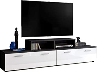 ExtremeFurniture T30-200 + TV Stand Mueble para TV, Carcasa en Negro Mate/Frente en Blanco Alto Brillo