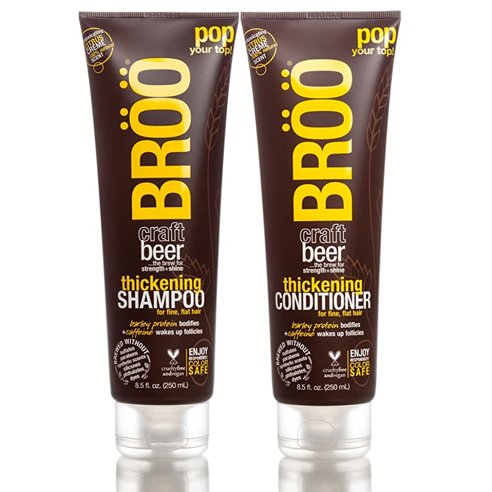 Br?? Thickening Shampoo and Br?? Thickening Conditioner Bundle With Aloe, Beer, and Olive Fruit, 8.5 fl. oz. each.