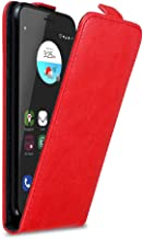 Cadorabo Case Works with ZTE Blade V7 in Apple RED - Flip Style Case with Magnetic Closure - Wallet Etui Cover Pouch PU Leather Flip
