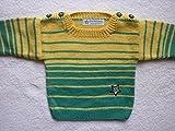 Babypulli Gr. 74/80 türkisgrün hellgelb gestreift handgestrickt