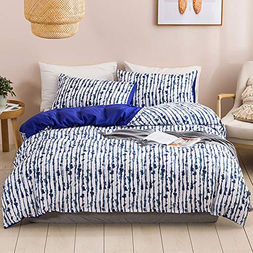Helehome Blue and White Ink Bedding Cover Set Graffiti Chinese Art Abstract Ultra Soft Duvet Cover 3 Pieces,1 Duvet Cover with 2 Pillow Shams, No Comforter,King Size