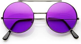 0efa44e401e Limited Edition Color Flip-Up Lens Round Circle Django Sunglasses (Purple)