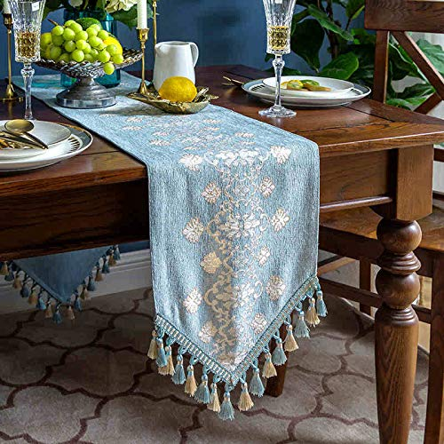 Cotton And Linen Table Runner, Orange Leaf Printing Padded Table Runner With Tassels For Holiday Party Table Decoration, Dust Cover For Tv Cabinet 30x160cm