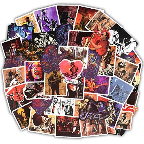 BLOUR Stickers Jazz Soul Performer Band Style Sticker aan DIY Gitaar Saxofoon Laptop Koffer bagage bagage Fiets50 stuks