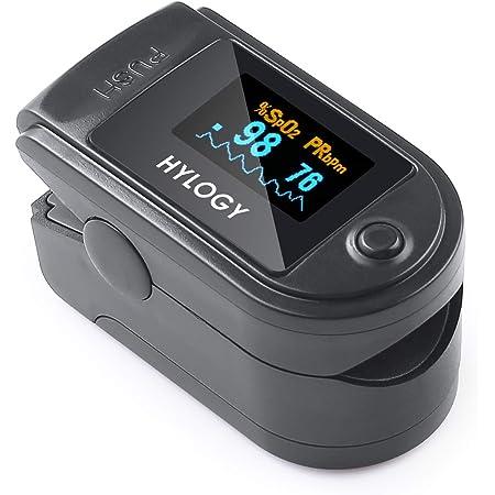 HYLOGY saturimetro da ditto, pulsossimetro per frequenza cardiaca e livello SpO2 con display a LED adatto, cordino inclusi