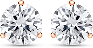 1/2-2 Carat Total Weight Round Diamond Stud Earrings 3 Prong Push Back (H-I Color SI1-SI2 Clarity)