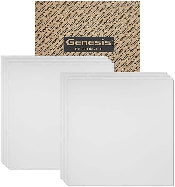 Genesis 2ft X 2ft Smooth Pro White Ceiling Tiles Easy Drop In Installation Waterproof Washable And Fire Rated High Grade PVC To Prevent Breakage Package Of 12 Tiles