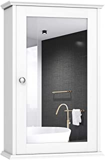 TANGKULA Mirrored Bathroom Cabinet, Wall Mount Storage Cabinet with Single Door, Bathroom Medicine Cabinet, White