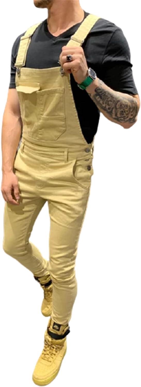 YUIJ Mens Jeans Overalls,Casual Moto Biker Pants,Fashion Dungaree Bib Overalls Jumpsuits