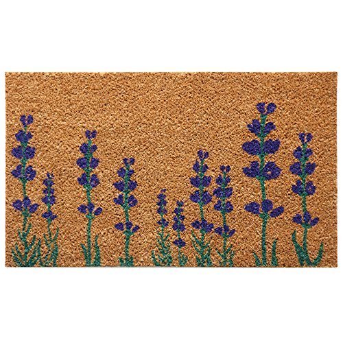 Rubber-Cal 10-102-019' Purple English Lavender Flower Doormat, 18 X 30