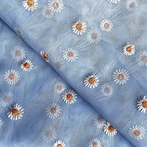 DIY チュール レース生地 手芸 手作り 縫製用 可愛い ?菊 ブルーシーズ柄刺繍生地 (145cm×100cm)