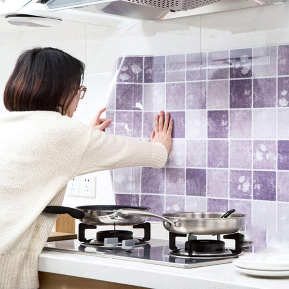 ZQEDY Cocina Aceite Prueba Impermeable Alta Temperatura Pegatina Armario de Cocina Pegatinas Autoadhesivo Papeles Pintados - Morado, 100 * 60cm: Amazon.es: Hogar