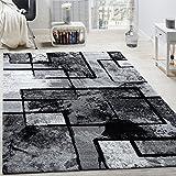 Paco Home Alfombra De Diseño Moderna De Velour Corto con Aspecto De Pintura Abstracta Negra, Gris Y Antracita, tamaño:200x290 cm