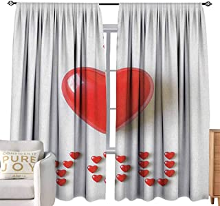 Andrea Sam Beaded Curtain I Love You,3D Illustration of a Heart Lays in Between Words Made with Heart Shaped Font, Red White for Bedroom Curtain for Living Room,W120 x L108 inch