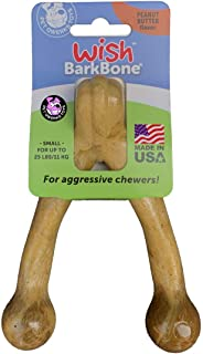 Pet Qwerks Wish BarkBone, Peanut Butter Flavor - Nylon Chew Toy for Aggressive Chewers, Tough Durable Extreme Power Chewer...