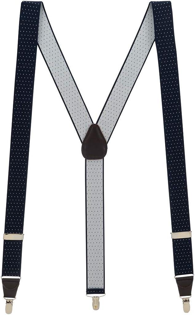 SuspenderStore Men's Navy Woven Pin Dot Suspenders - CLIP