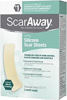 ScarAway Long Silicone Scar Treatment Sheets, Ideal for Larger & Longer Scars - 6 Multi-Use Adhesive Soft Fabric Strips, 1.5 In. X 7 In