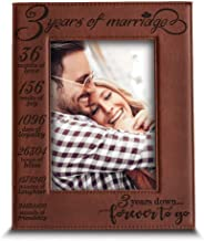 Lik85 Leather Engraved Wedding Third Anniversary three years personalized gift name date