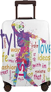 Travel Luggage Cover,Stylish Woman Figure Silhouette With Colorful Stains Love Dresses Happiness Suitcase Protector