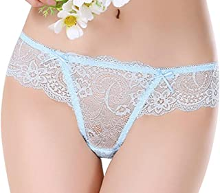FSSE 2 Pack Womens Low Rise Underwear Sexy Lace T-Back Thong Briefs Panties
