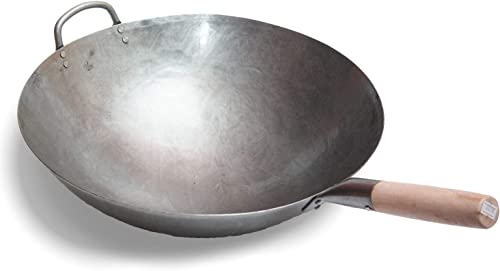 lowest Big 16 online Inch Heavy Hand Hammered Carbon Steel Pow Wok with Wooden and Steel Helper Handle (Round Bottom) 2021 / 731W138 by Craft Wok outlet sale