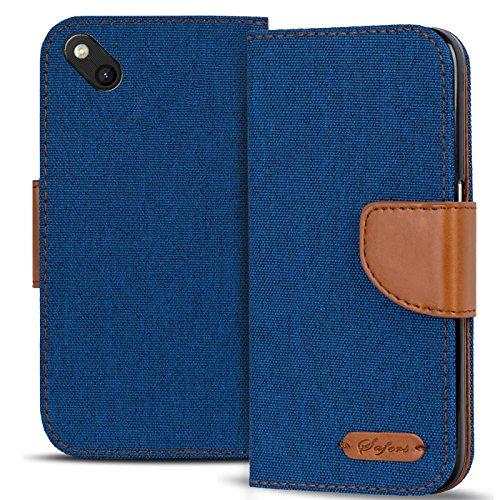 Verco Sunny Hülle, Schutzhülle für Wiko Sunny Tasche Denim Textil Book Hülle Flip Hülle - Klapphülle Blau