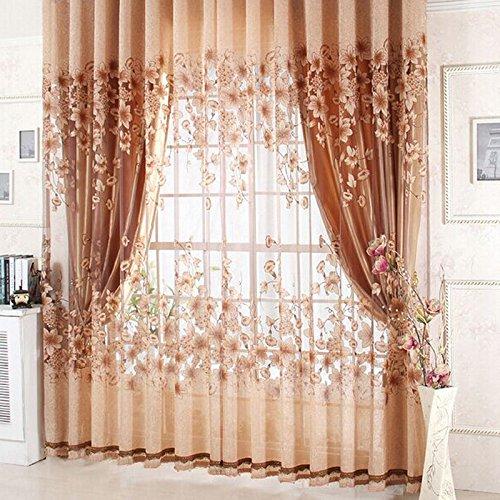 Chinatera Neue Blume Gedruckt Tür Fenster Transparent Gardine (Kaffee)