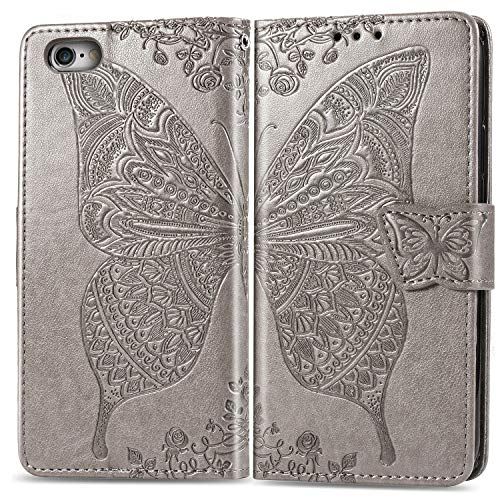 Hülle für iPhone 6S / iPhone 6 Hülle Handyhülle [Standfunktion] [Kartenfach] [Magnetverschluss] Tasche Etui Schutzhülle lederhülle klapphülle für Apple iPhone 6S / 6 - JESD020004 Grau