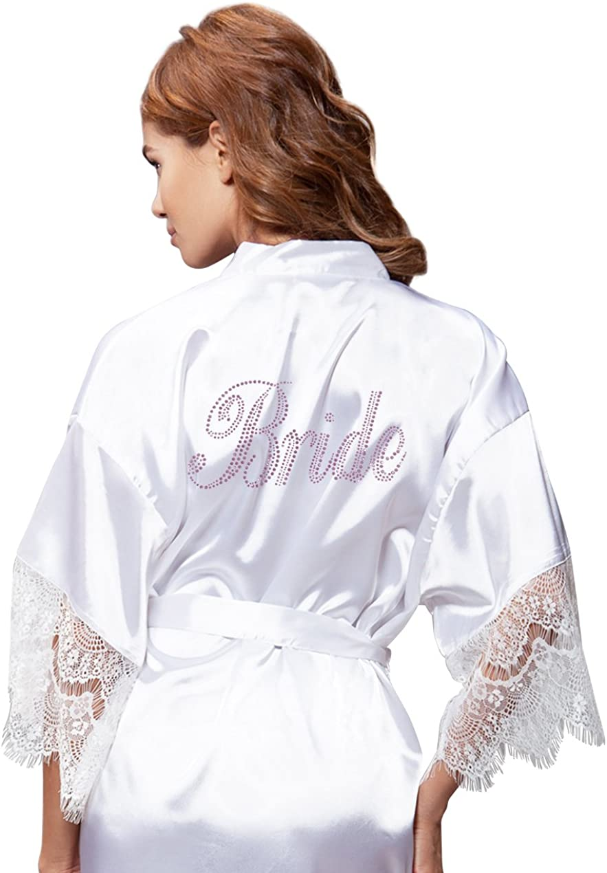 Turquaz Linen White Satin Robe Rhinestone Over item Max 80% OFF handling Bride Kimono