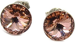 Lily-Crystal [K2701] - Argento loop 'Cristal' salmone (9 mm).