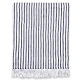 Cackleberry Home Navy Blue and White Ticking Stripe Throw Blanket with Fringes Brushed Cotton, 50 W x 60 L