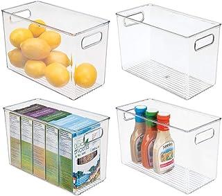 mDesign boîte de rangement avec poignées (lot de 4) – boîte pour frigo haute pour ranger les aliments – boîte en plastique...