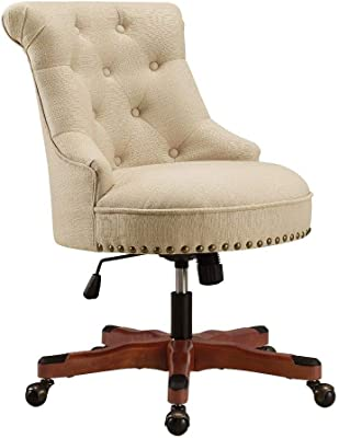 Benjara Nailhead Trim Fabric Upholstered Office Chair with Adjustable Height, Beige
